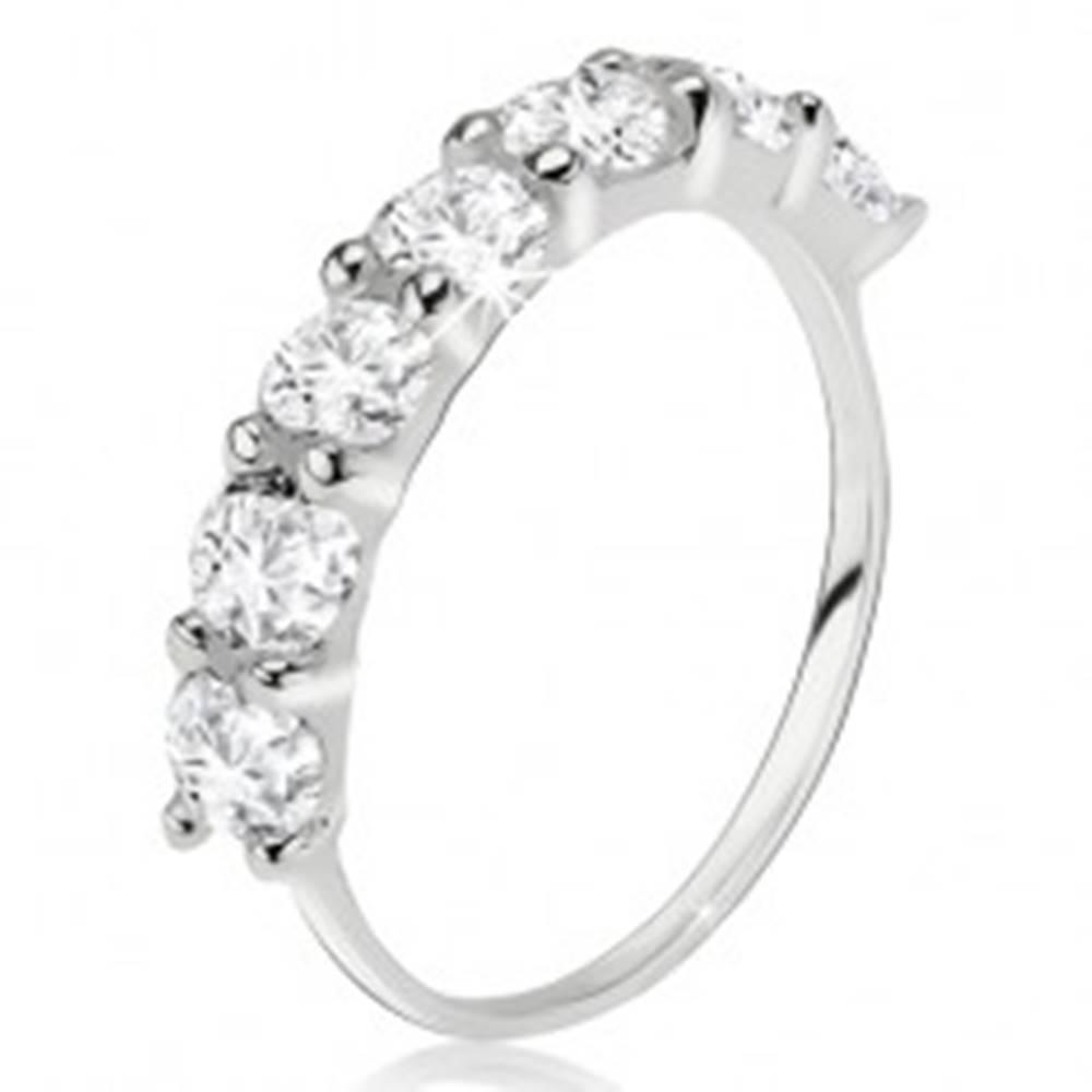 Šperky eshop Prsteň zo striebra 925, pás čírych okrúhlych zirkónov - Veľkosť: 49 mm