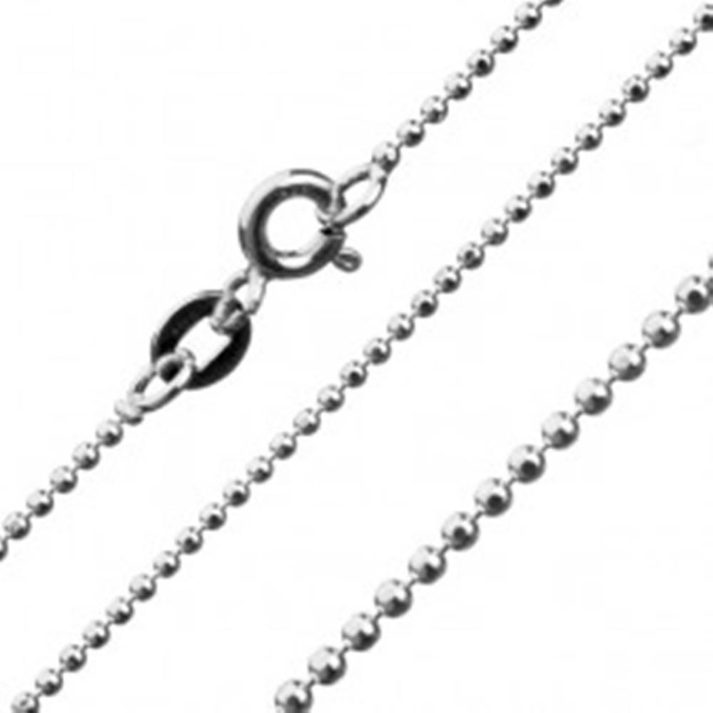 Šperky eshop Retiazka z drobných lesklých guličiek, striebro 925, 1,2 mm