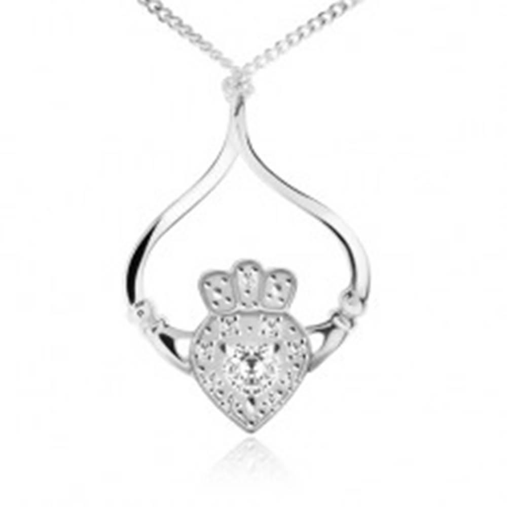 Šperky eshop Strieborný náhrdelník 925, retiazka, srdce, korunka, ruky, číre zirkóny