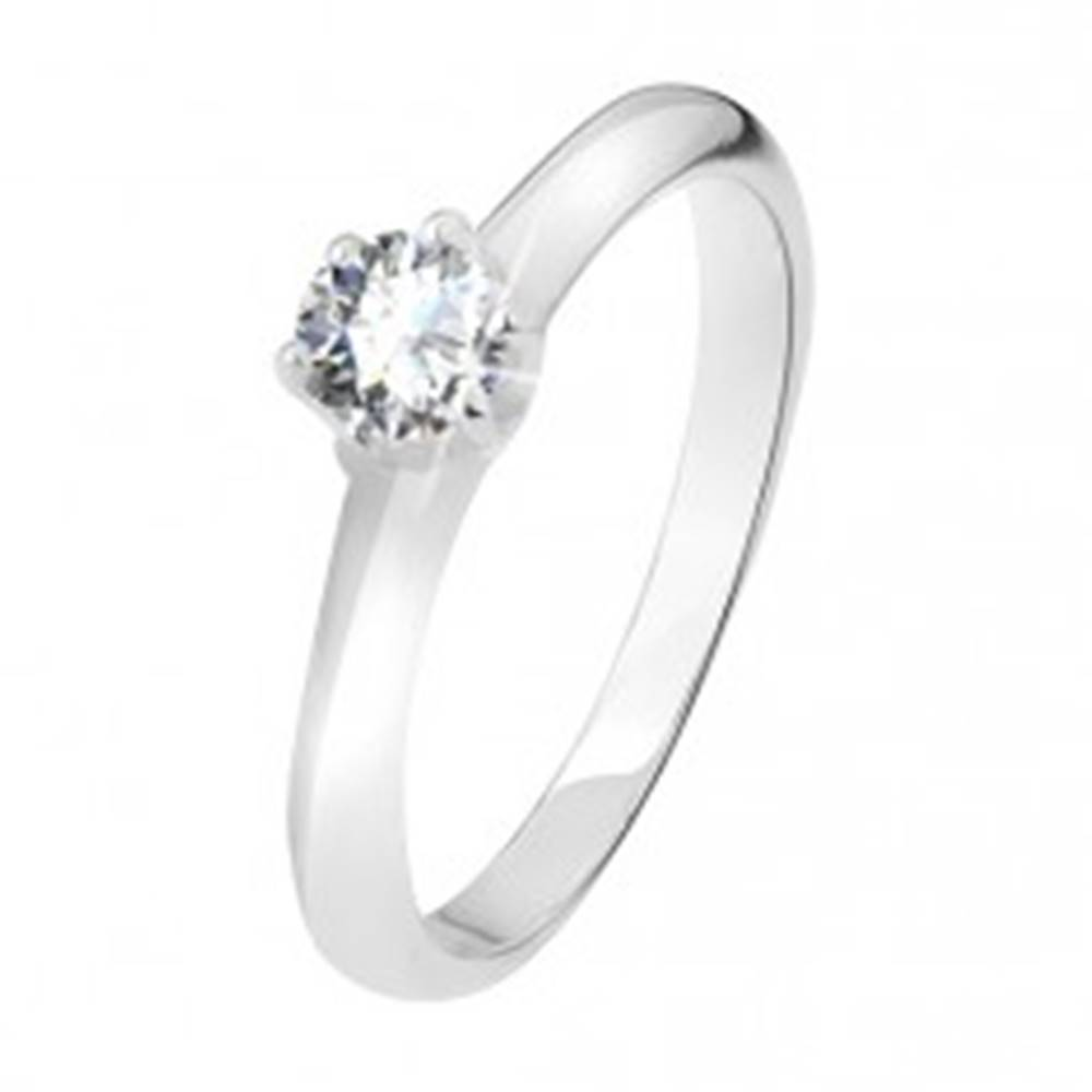 Šperky eshop Strieborný prsteň 925, číry zirkón v kalíšku so šiestimi kolíčkami - Veľkosť: 49 mm
