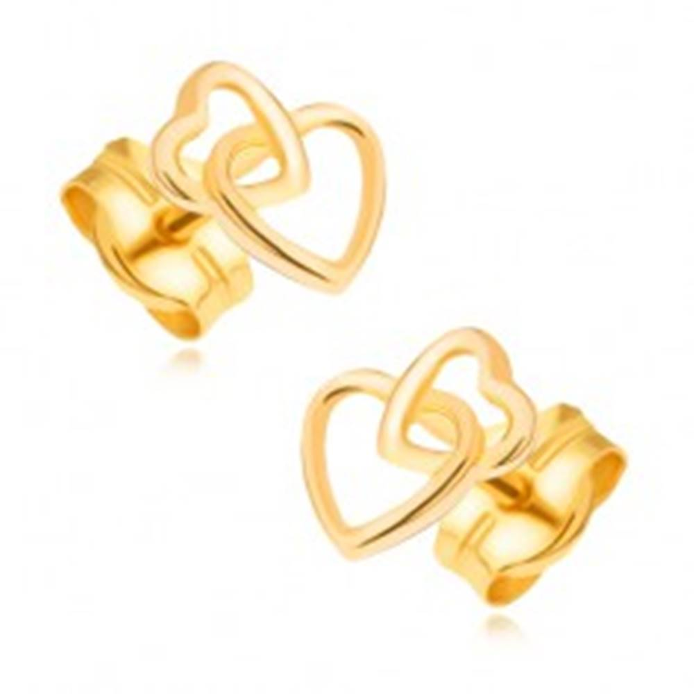 Šperky eshop Zlaté náušnice 585 - prepojené ligotavé kontúry súmerných sŕdc
