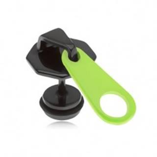 Čierny fake plug do ucha z ocele, zips, neónovožltý jazýček, PVD