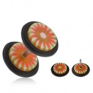Falošný akrylový plug do ucha, oranžovo-zelený kvet, biele lúče