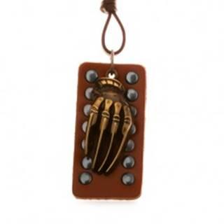 Hnedý náhrdelník zo syntetickej kože, vybíjaná známka, ruka kostry