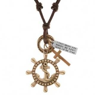 Kožený náhrdelník hnedej farby, prívesky - kormidlo s kotvou, kríž, známka