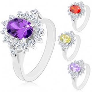 Ligotavý prsteň v striebornej farbe, veľký oválny kvet zo zirkónov - Veľkosť: 49 mm, Farba: Svetlofialová
