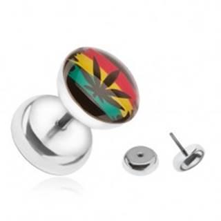 Oceľový falošný plug do ucha, farby Jamajky, marihuana