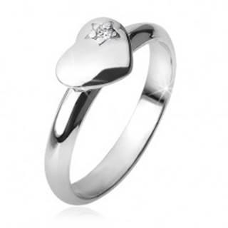 Prsteň s vypuklým súmerným srdcom, hviezda, zirkón, zo striebra 925 - Veľkosť: 49 mm
