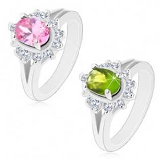 Prsteň striebornej farby, rozdelené ramená, žiarivý kvietok s oválnym stredom - Veľkosť: 49 mm, Farba: Zelená