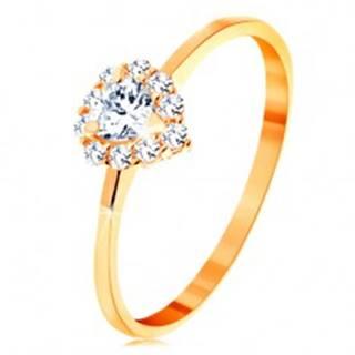 Prsteň v žltom 14K zlate - číre zirkónové srdiečko s trblietavým okrajom - Veľkosť: 49 mm