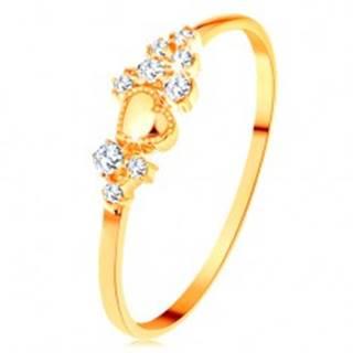 Prsteň v žltom 14K zlate - drobné číre zirkóny a lesklé vypuklé srdiečko - Veľkosť: 49 mm