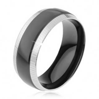 Prsteň z ocele 316L, ryhované okrajové pásy, lesklý čierny pruh - Veľkosť: 57 mm
