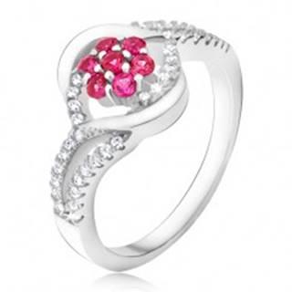 Prsteň zo striebra 925, ružový zirkónový kvet, pery - Veľkosť: 49 mm