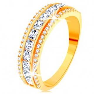 Prsteň zo žltého 14K zlata - línia čírych zirkónových štvorčekov, trblietavý lem - Veľkosť: 49 mm