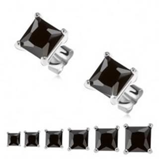 Puzetové náušnice, striebro 925, čierny štvorcový zirkón - Veľkosť zirkónu: 3 mm