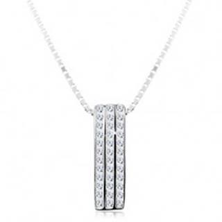 Strieborný náhrdelník 925, ligotavý prívesok - tri zvislé zirkónové línie