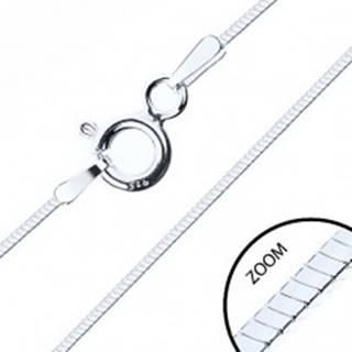 Tenká štvorhranná retiazka, striebro 925, šírka 0,6 mm, dĺžka 450 mm