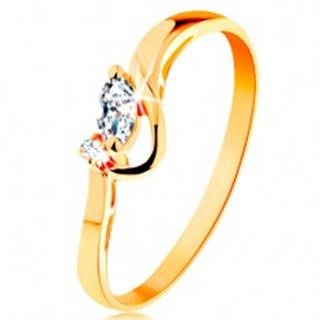 Zlatý prsteň 585 - číre brúsené zrnko a okrúhly zirkónik, lesklý oblúk - Veľkosť: 49 mm