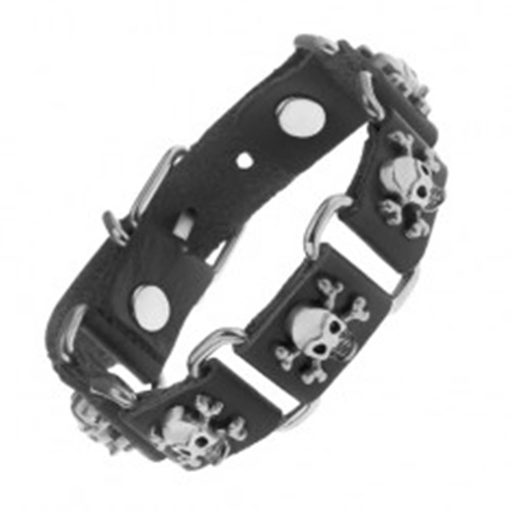 Šperky eshop Čierny náramok zo syntetickej kože a ocele, lebky s prekríženými kosťami