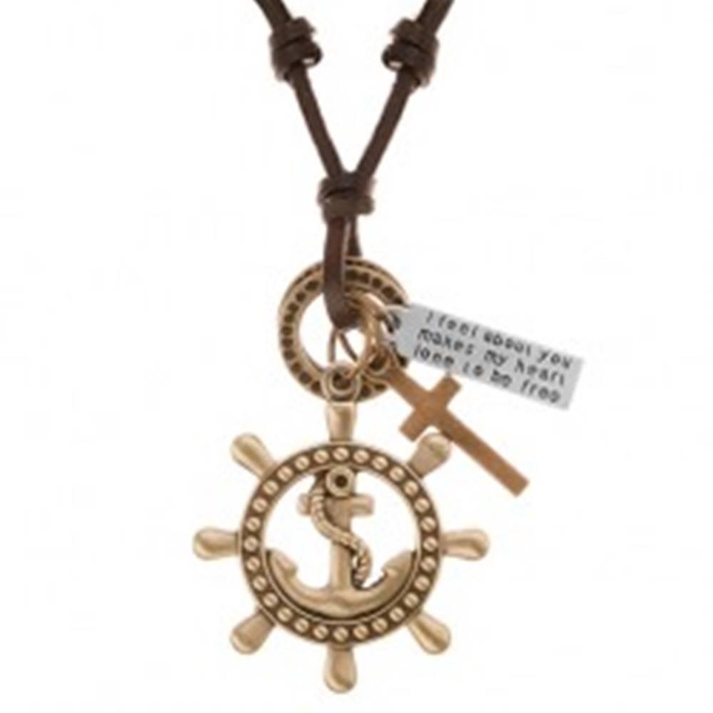 Šperky eshop Kožený náhrdelník hnedej farby, prívesky - kormidlo s kotvou, kríž, známka