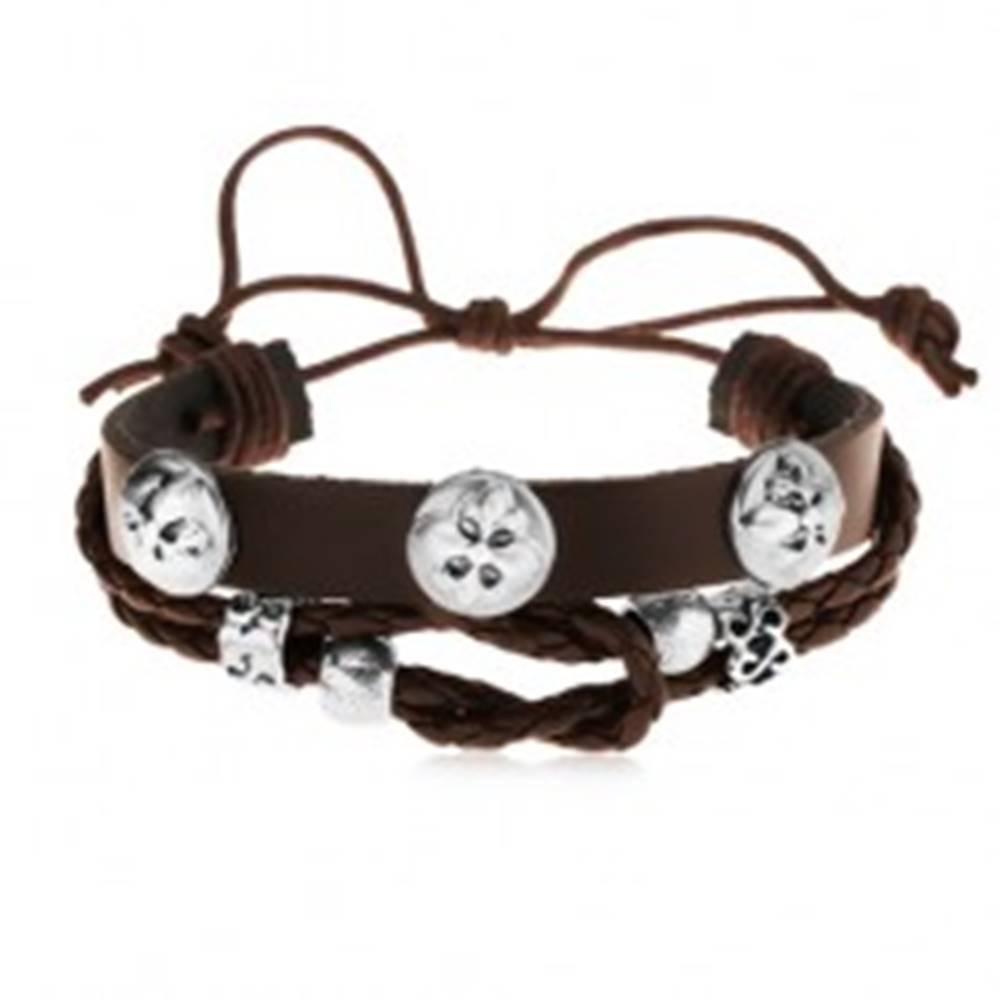 Šperky eshop Kožený náramok tmavohnedej farby s oceľovými ozdobami, ľaliové kríže