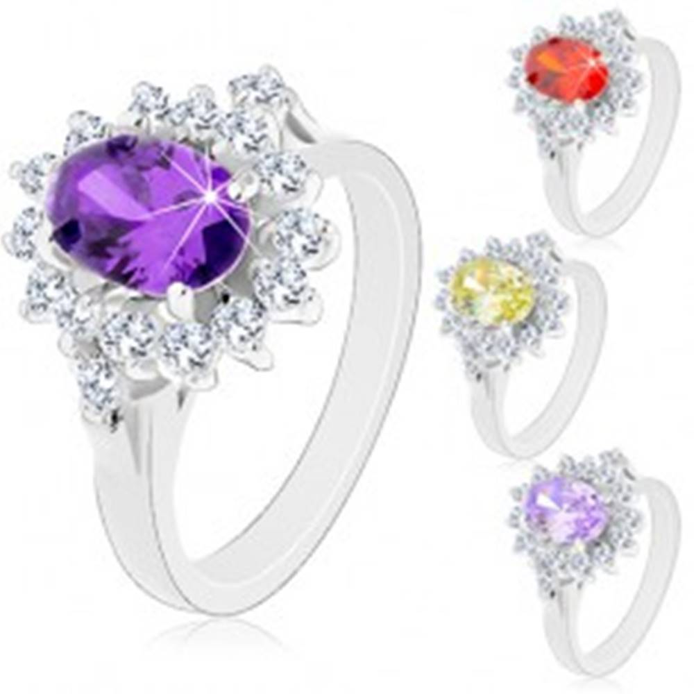 Šperky eshop Ligotavý prsteň v striebornej farbe, veľký oválny kvet zo zirkónov - Veľkosť: 49 mm, Farba: Svetlofialová