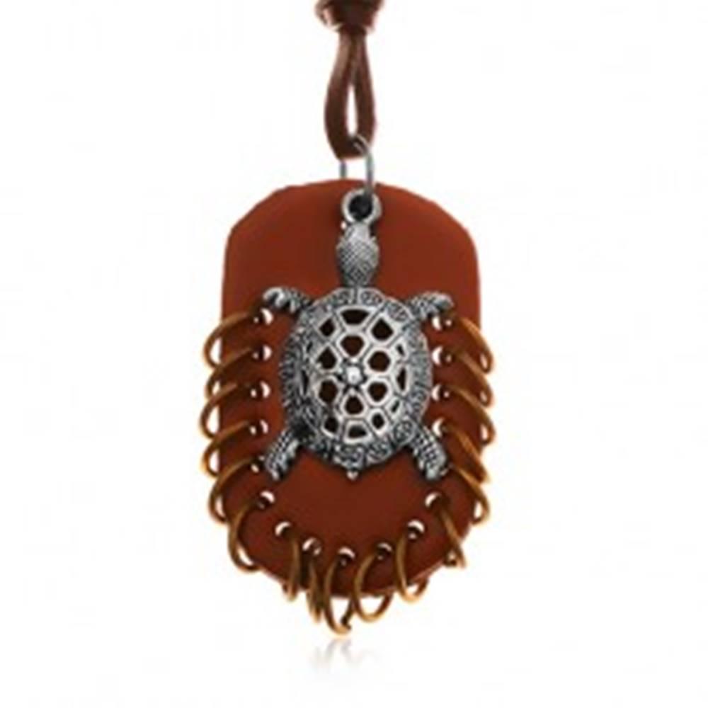 Šperky eshop Náhrdelník z umelej kože, prívesky - hnedý ovál s krúžkami a korytnačka
