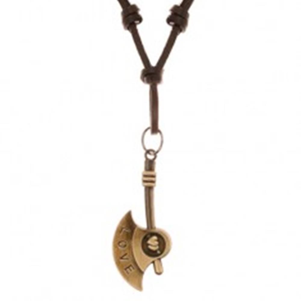 Šperky eshop Náhrdelník zo syntetickej kože s príveskom - patinovaná sekera, nápis LOVE