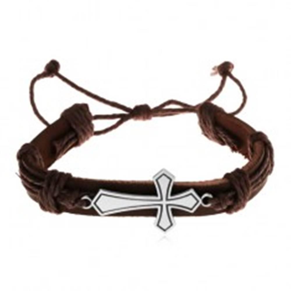 Šperky eshop Náramok z tmavohnedej umelej kože a šnúrok, veľký lesklý kríž, patina