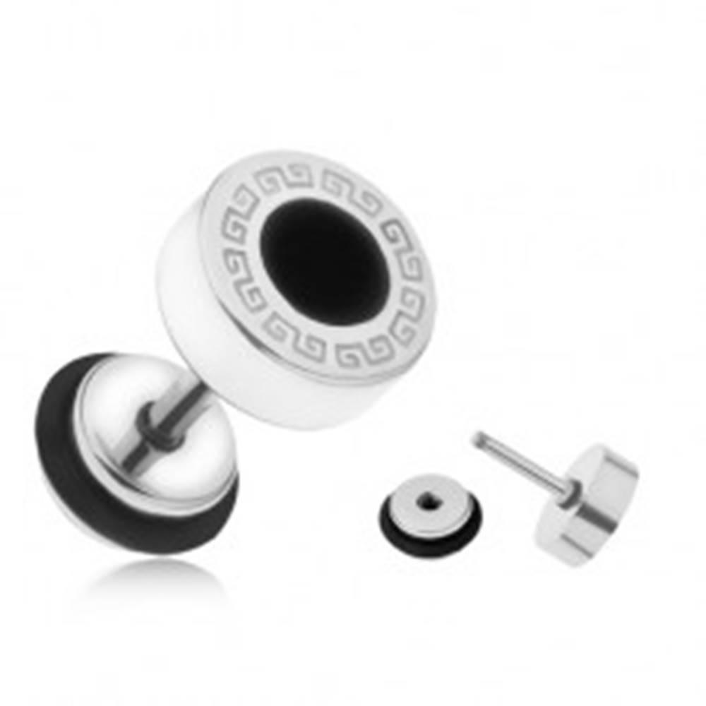 Šperky eshop Oceľový fake plug do ucha, grécky kľúč, čierny glazúrovaný kruh, 8 mm