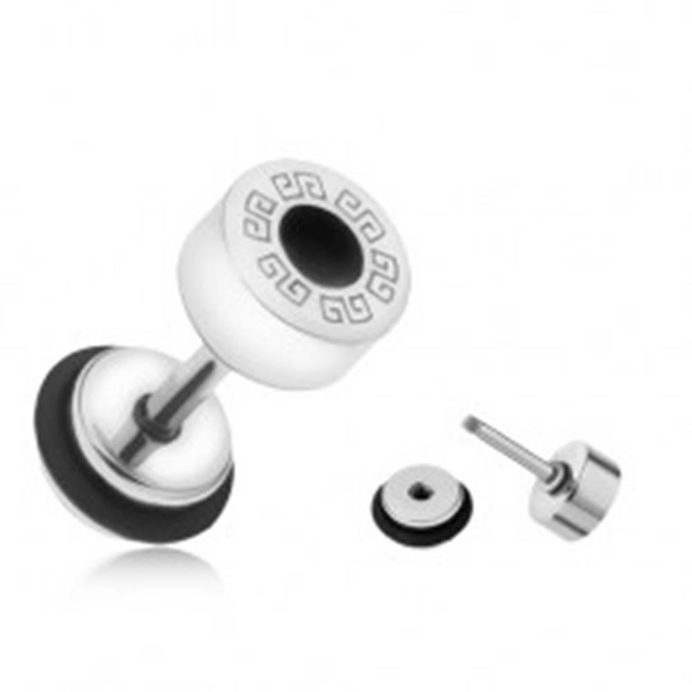 Šperky eshop Okrúhly falošný plug do ucha z ocele, grécky kľúč, čierny kruh, 6 mm