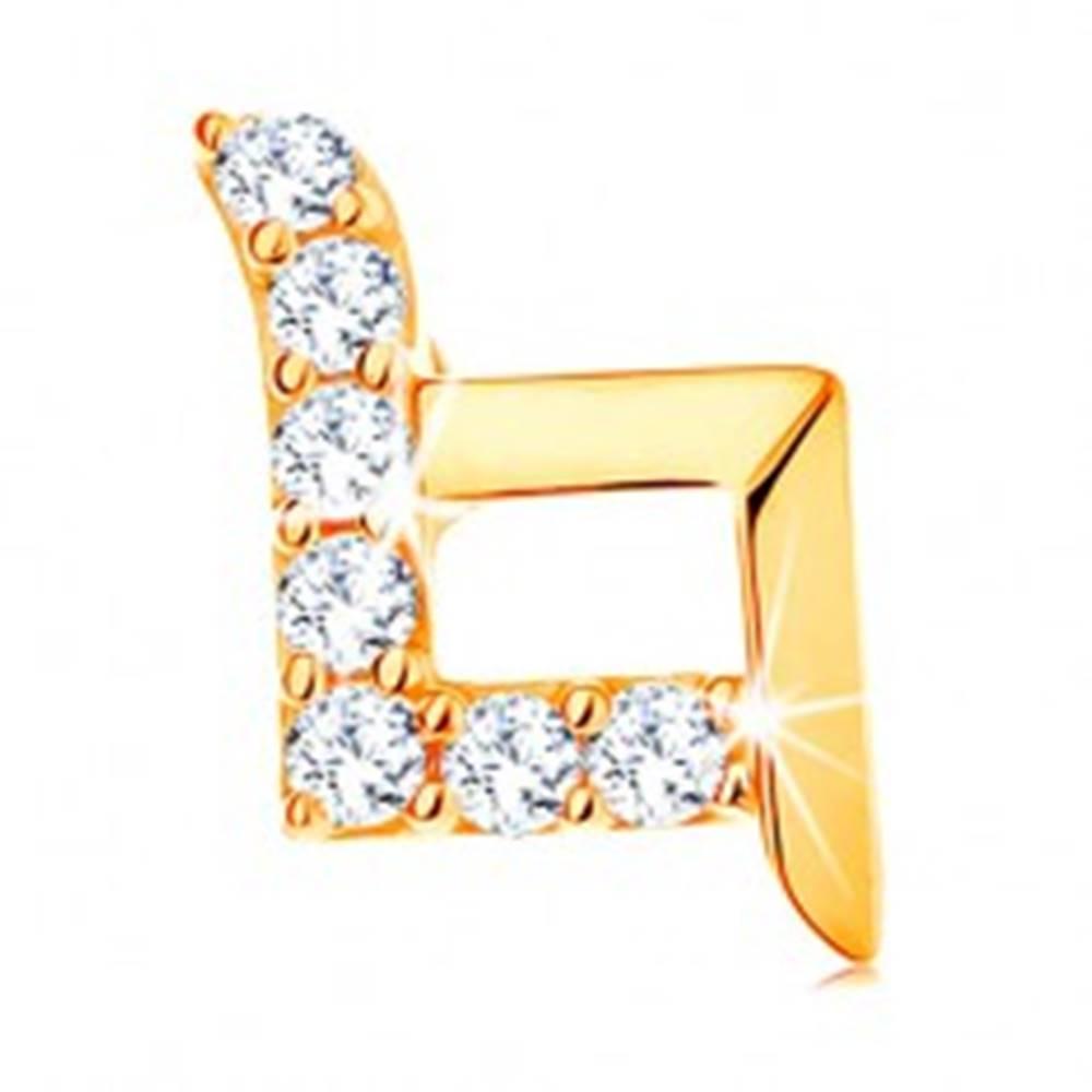 Šperky eshop Prívesok v žltom 14K zlate - kontúra kosoštvorca s predĺženými líniami, zirkóniky