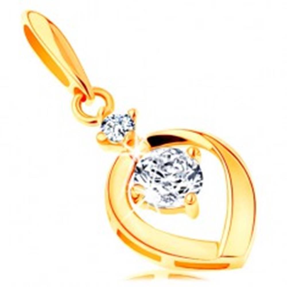 Šperky eshop Prívesok zo žltého 14K zlata - okrúhly číry zirkón v obryse kvapky