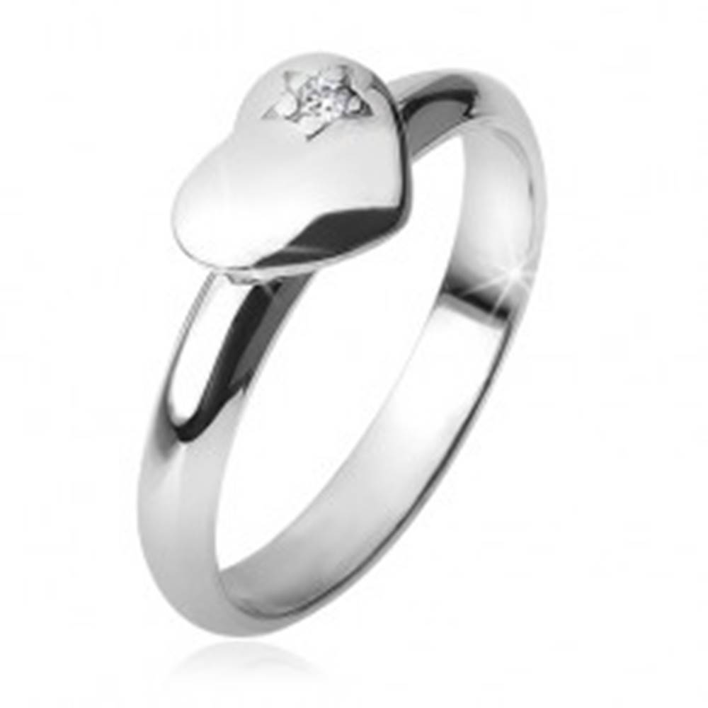 Šperky eshop Prsteň s vypuklým súmerným srdcom, hviezda, zirkón, zo striebra 925 - Veľkosť: 49 mm