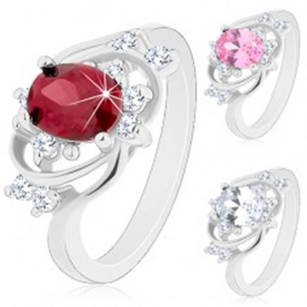Šperky eshop Prsteň v striebornom odtieni, úzke oblúky, farebný oválny zirkón - Veľkosť: 49 mm, Farba: Číra