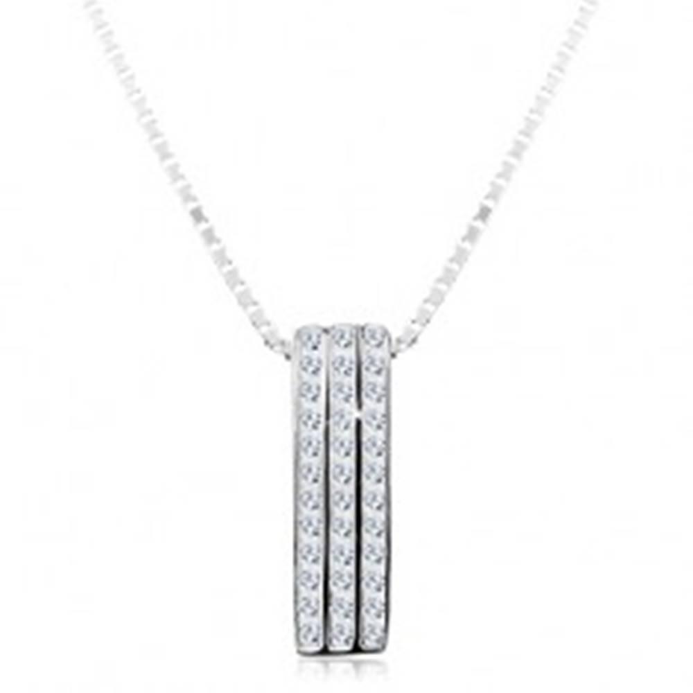 Šperky eshop Strieborný náhrdelník 925, ligotavý prívesok - tri zvislé zirkónové línie