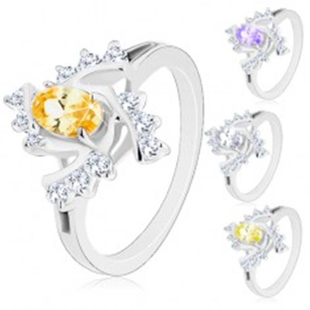 Šperky eshop Trblietavý prsteň s rozdelenými ramenami, farebný ovál, číre špirálovité línie - Veľkosť: 48 mm, Farba: Číra