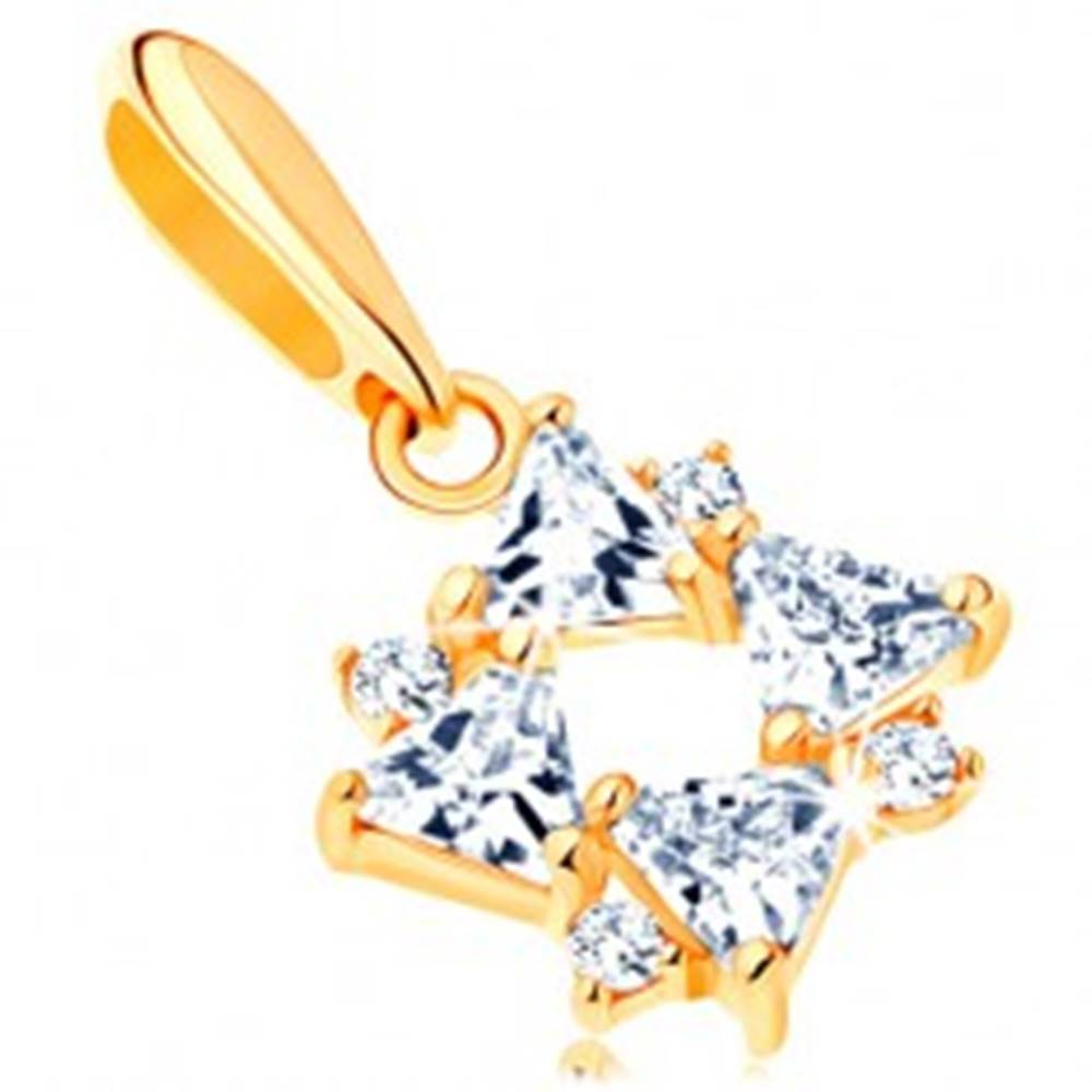 Šperky eshop Zlatý prívesok 585 - číre zirkónové trojuholníky a drobné okrúhle zirkóniky