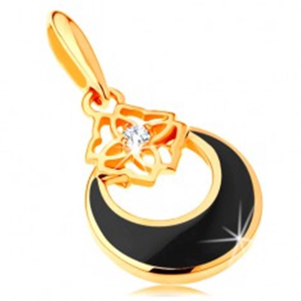 Šperky eshop Zlatý prívesok 585 - kruh s výrezom a čiernou glazúrou, ornament, zirkón