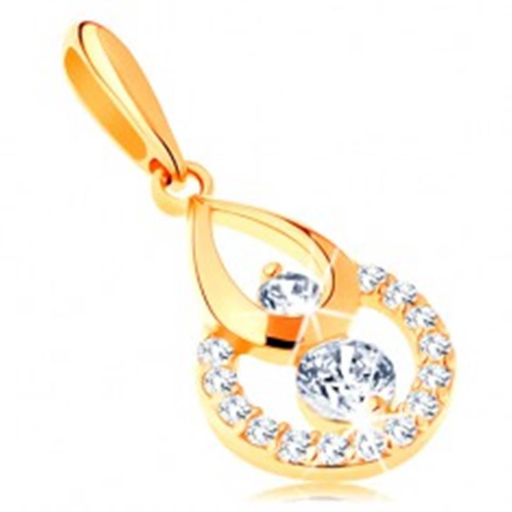 Šperky eshop Zlatý prívesok 585 - obrys kvapky a kruhu, žiarivé číre zirkóny