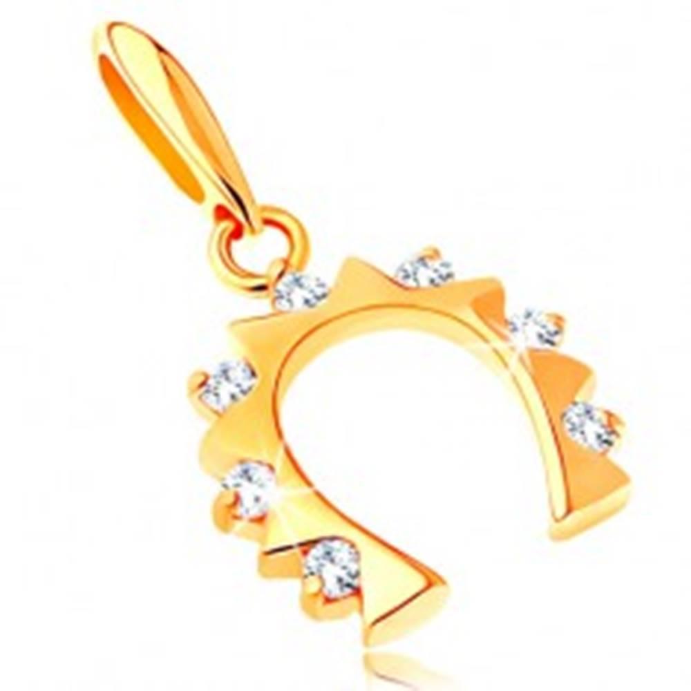 Šperky eshop Zlatý prívesok 585 - podkovička pre šťastie so zirkónmi čírej farby