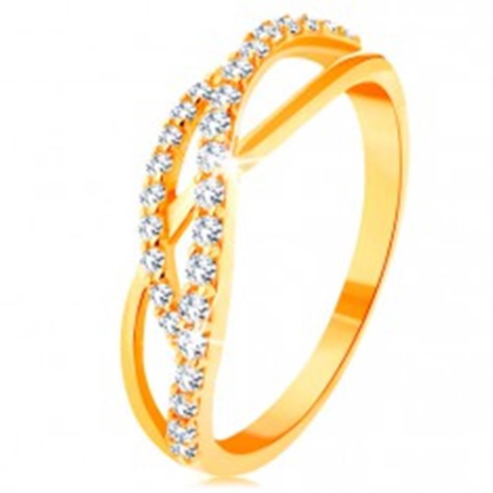 Šperky eshop Zlatý prsteň 585 - prepletené vlnky - jedna hladká a dve zirkónové - Veľkosť: 49 mm