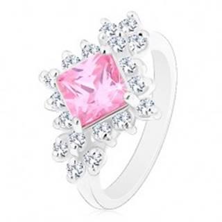 Ligotavý prsteň, ružový zirkónový štvorec lemovaný okrúhlymi čírymi zirkónmi - Veľkosť: 48 mm