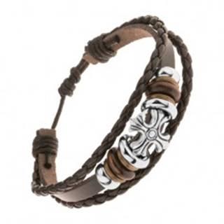 Náramok z troch pásov umelej kože, oceľové a drevené korálky, ľaliový kríž