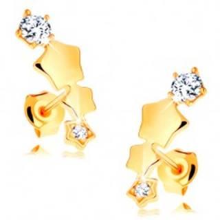 Náušnice v žltom 14K zlate - hviezdičky tvoriace oblúk, puzetky