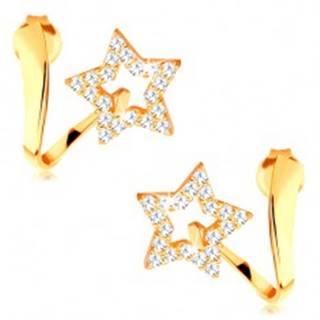Náušnice v žltom 14K zlate - zvlnená stuha s trblietavou kontúrou hviezdy