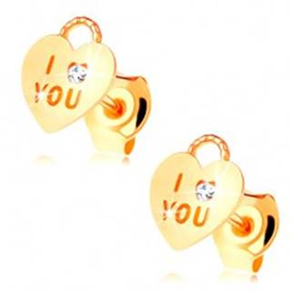 Náušnice zo žltého 14K zlata - srdiečková kladka, číry zirkón, nápis I love you