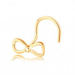 Piercing do nosa v žltom 14K zlate - mašlička s drobnou guličkou v strede