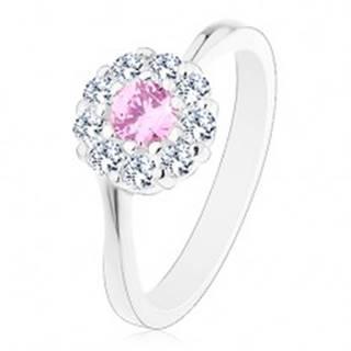 Prsteň v striebornej farbe, ružovo-číry zirkónový kvietok, lesklé ramená - Veľkosť: 51 mm