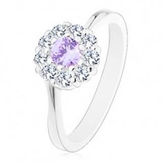 Prsteň v striebornej farbe, zirkónový kvietok so svetlofialovým stredom - Veľkosť: 51 mm